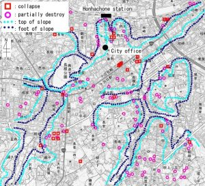 Damage distribution map of central Hachinohe
